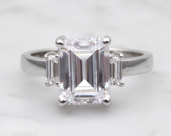 Genuine Emerald cut moissanite & Solid Gold Trilogy ring - engagement ring