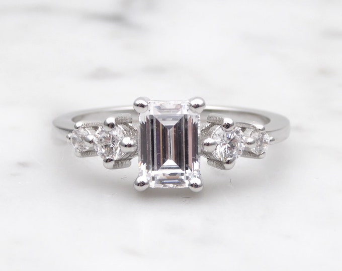 Solid gold Emerald Moissanite solitaire ring available in 10k, 14k, 18k Rose, yellow or white gold - engagement ring