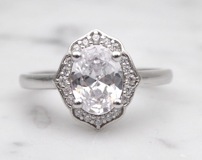 Solid gold Oval Moissanite solitaire ring available in 10k, 14k, 18k Rose, yellow or white gold - engagement ring