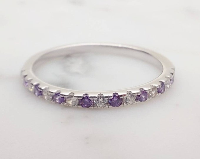 1.8mm wide Amethyst and diamond Half Eternity ring - stacking ring - wedding band in white gold or Silver