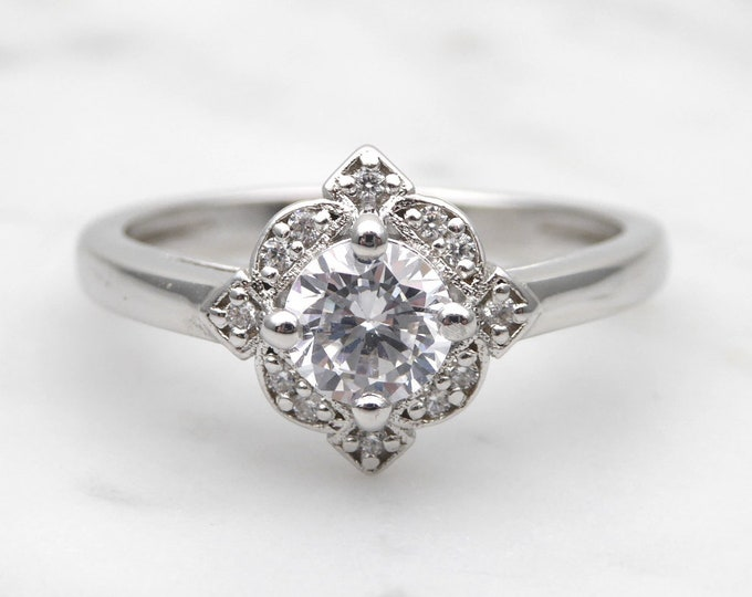 Solid gold Moissanite solitaire ring available in 10k, 14k, 18k Rose, yellow or white gold - engagement ring