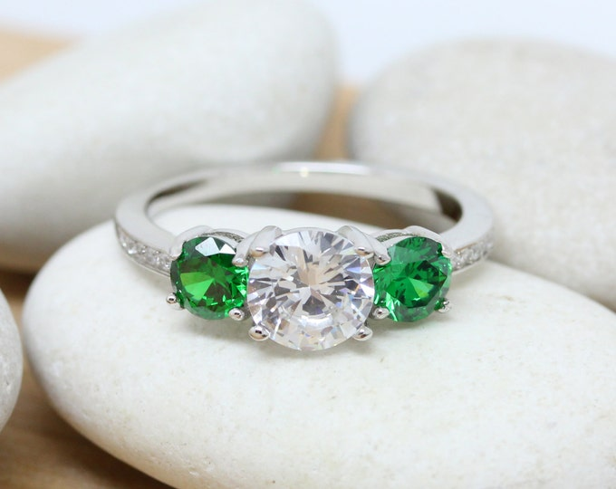 Lab Emerald and Man Made Diamond Simulant Trilogy Ring - sterling silver - engagement ring - wedding ring