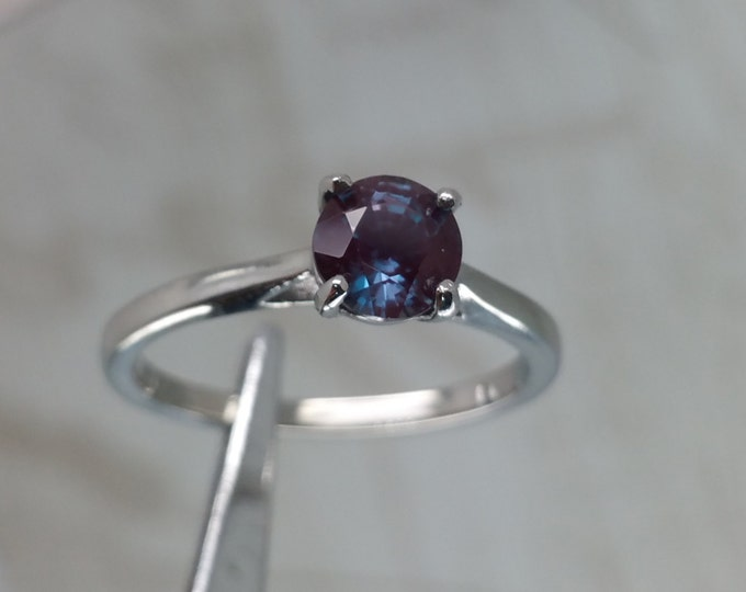 Natural 1ct Alexandrite solitaire ring in Titanium or White Gold - engagement ring - wedding ring - handmade ring