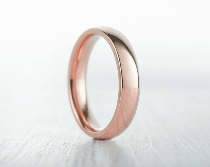 4mm filled 18ct Rose gold Plain Wedding band Ring - gold ring