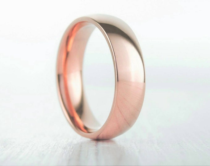 6mm Wide, filled 18ct rose gold Plain Wedding band Ring - gold ring