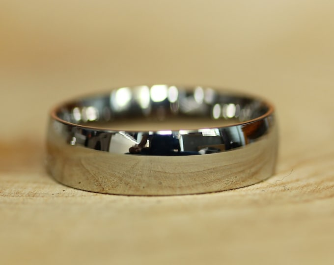 High Quality 6mm wide court shape/Comfort Fit 18k white gold filled Mens / Womens Plain band Wedding Ring