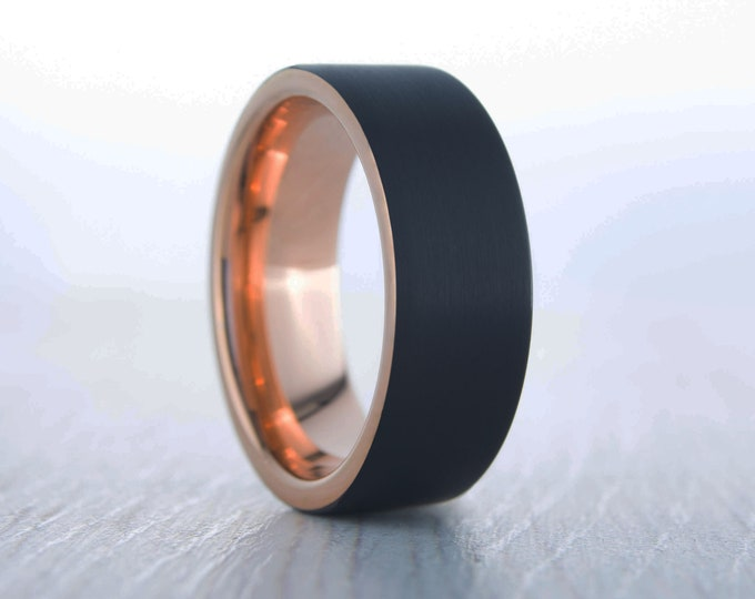 6mm Black Brushed titanium and 18k rose gold wedding ring band for men and women