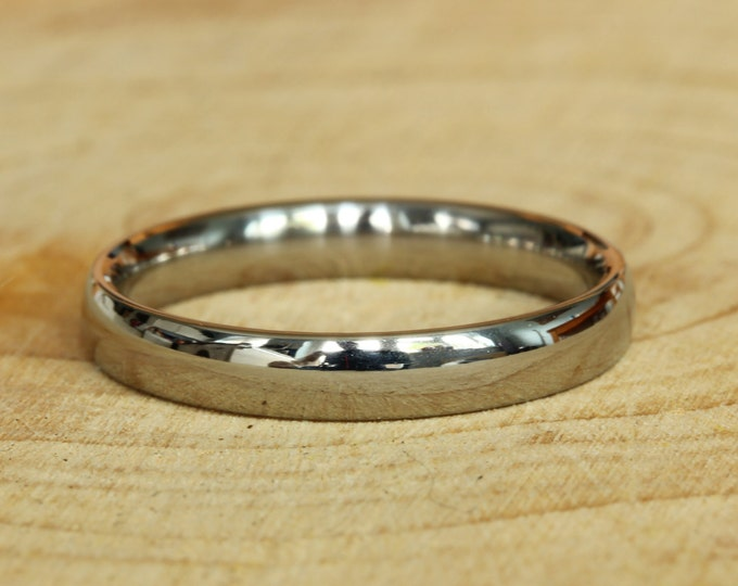 3mm Titanium Comfort Fit / Court Shape Plain band Wedding Ring in either polished or matte finish