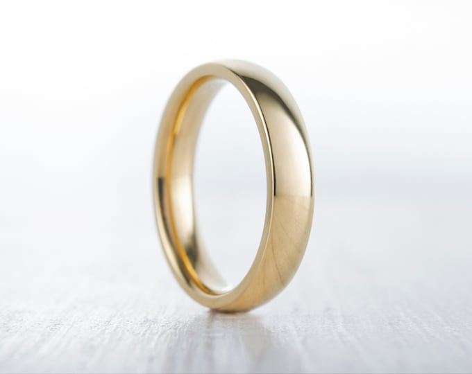 4mm filled 18ct Yellow gold Plain Wedding band Ring - gold ring