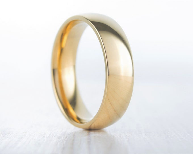 6mm Wide, filled 18ct Yellow gold Plain Wedding band Ring - gold ring