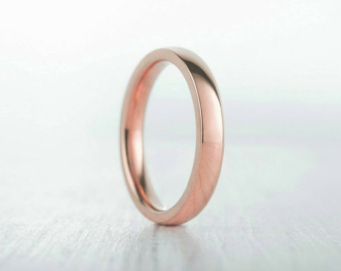 3mm Wide, filled 18ct Rose gold Plain Wedding band Ring - gold ring