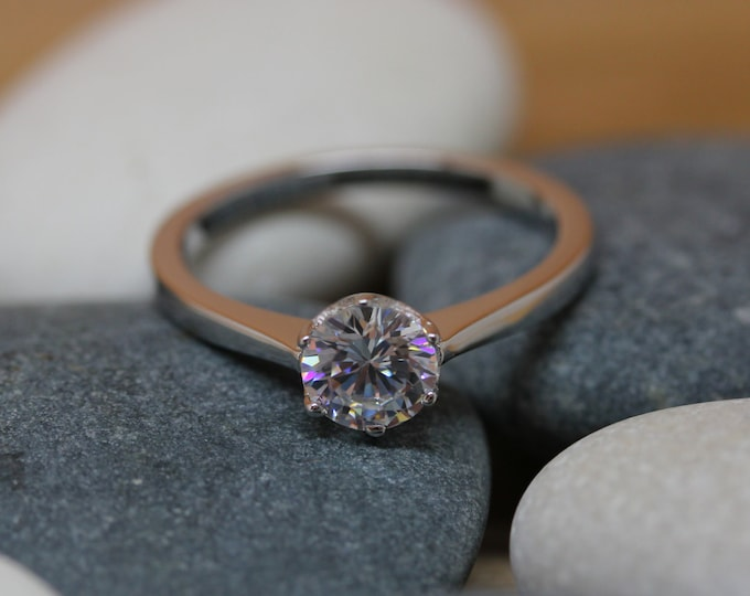 1ct Moissanite Solitaire ring available in white gold or titanium - engagement ring - hand made