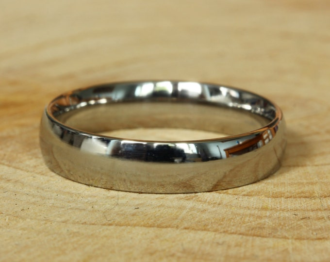 4mm Titanium Comfort Fit / Court Shape Plain band Wedding Ring