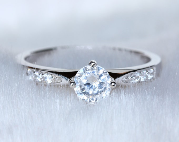 Natural white sapphire solitaire ring - Available in white gold or sterling silver - engagement ring - wedding ring