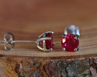 Genuine Ruby stud earrings, in solid sterling silver - 3mm, 4mm, 5mm or 6mm sizes!