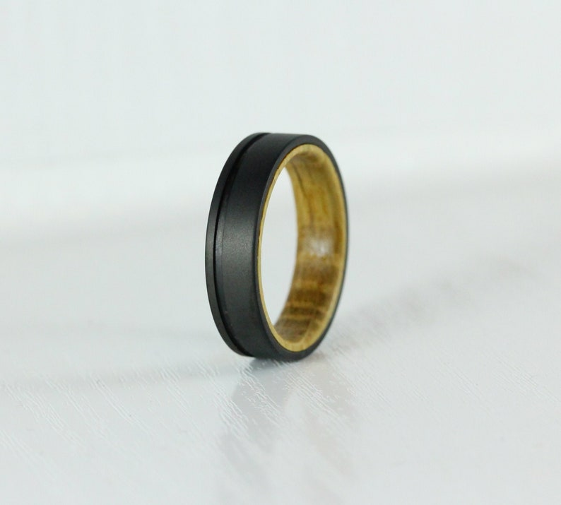 6mm Titanium & Whiskey barrel wood Wedding ring band for men image 0