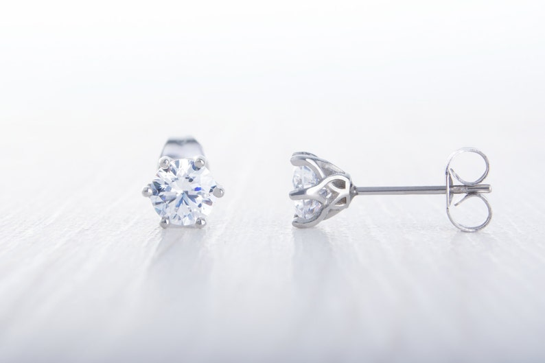 Man Made Diamond Simulant stud earrings available in image 0