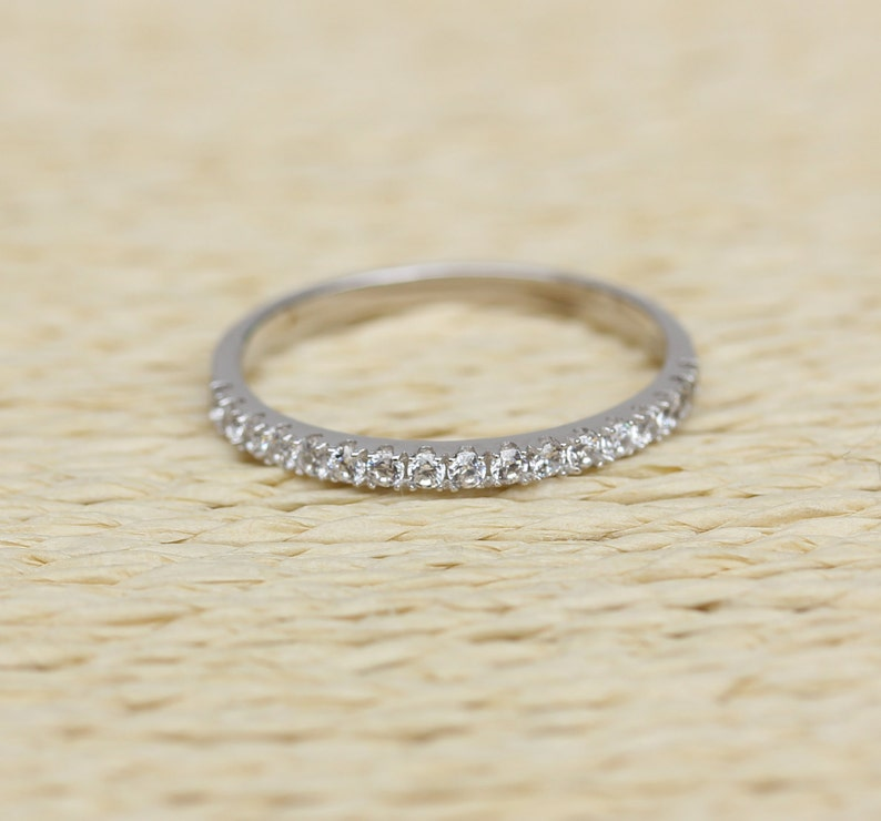 stacking ring wedding band handmade engagement ring 1.8mm wide Man Made Diamond Simulant Half Eternity ring  in white gold or Silver