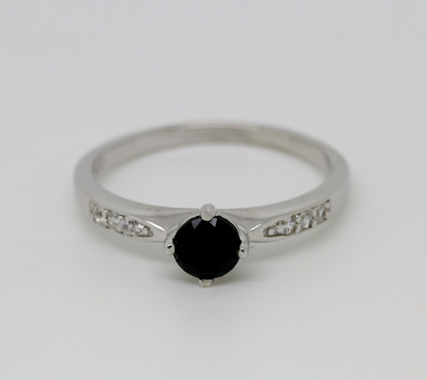 Genuine black diamond Solitaire engagement ring available in