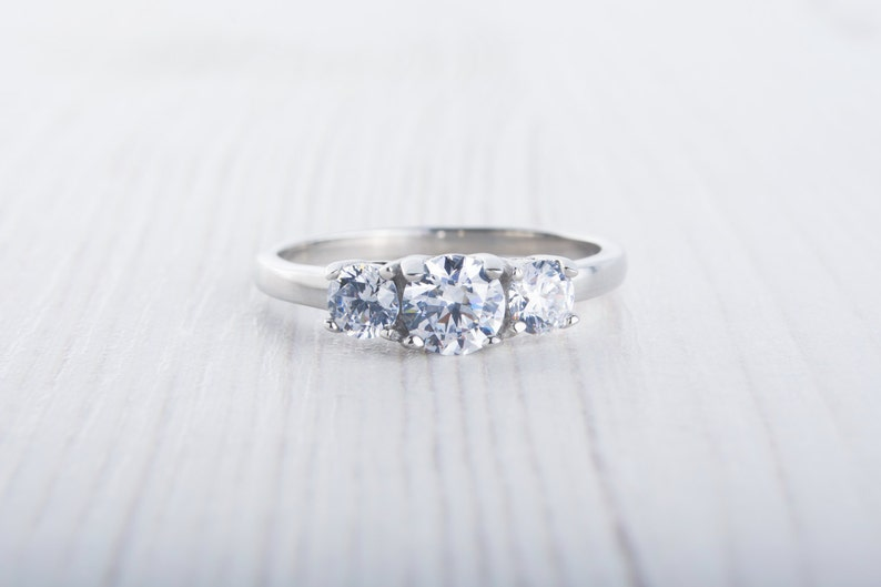 Man Made Diamond Simulant 3 stone Trilogy ring available in image 0