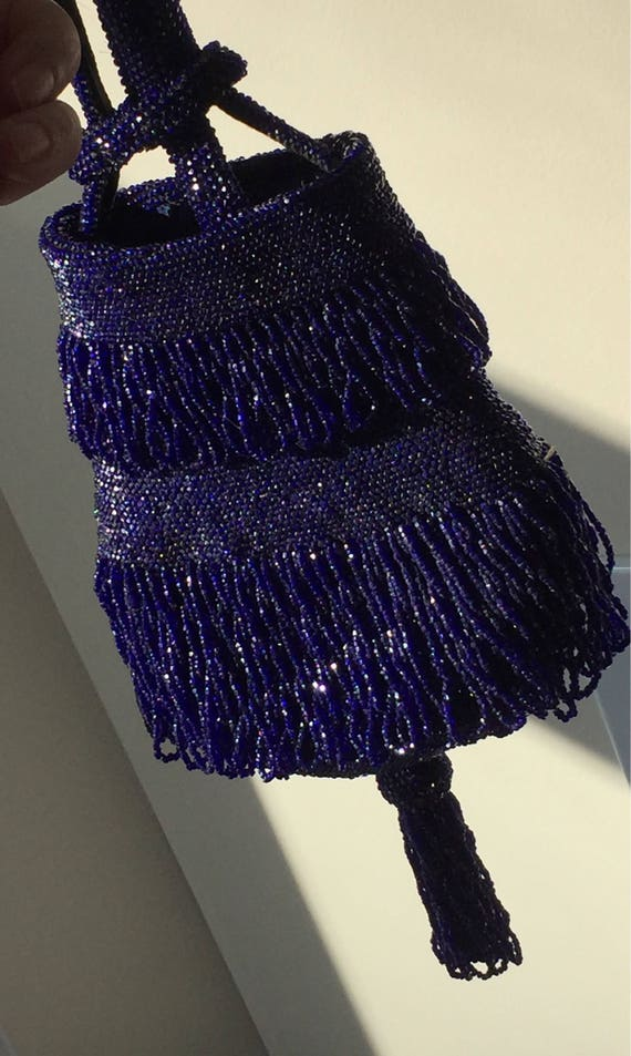 Spectacular 20's Flapper Fringed Midnight Blue Bea