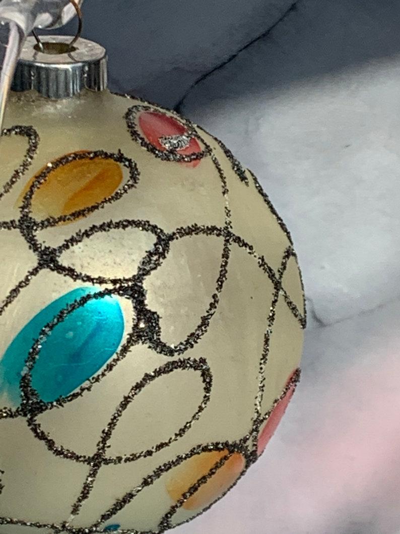 Vintage Shiny Brite Mercury Glass Moderne\u2019 Squiggle Stained Glass Mica 3 14\u201d