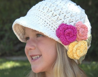 Hat | Newsboy | Cotton Crochet | Brimmed Hat | Flower | Childrens Hats | Kids | Back to School | Hipster Hat | Popular Hats | Free Shipping