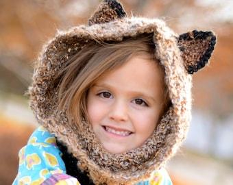 Soft Brown Raccoon Hood, Chunky Crochet Hood, Hooded Cowl Necks, Animal Hoods for Kids, Gifts for Kids, Super Soft and Warm Winter Hood