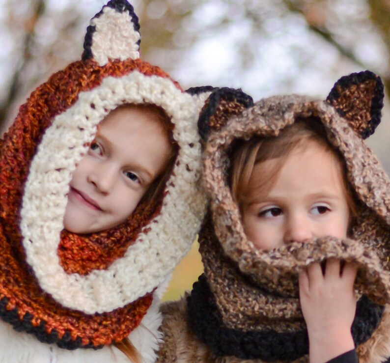 a058f04ffc2 Fox Animal Hood Cowl for Kids to Adults Crochet Animal Winter