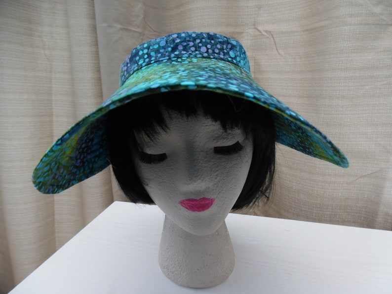 b5e23c886718ae EXTRA WIDE Brim Batik Sun Visor/ Womens Sun Visor / Garden | Etsy