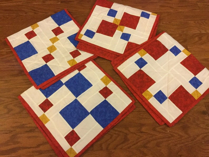 Placemat Set Of 4 Red White And Blue Table Runners Red | Etsy