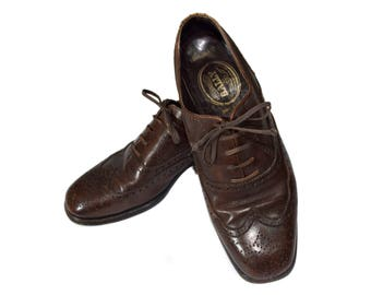 d0b5c3ec8ad2d Bally Men Leather Shoes   Vintage Brown Wingtips   Real leather man Oxford    Genuine leather shoes