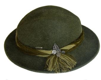 Fedora   Vintage Hat   cappello di lana verde   Austria   Cappello Fedora 8b7ee41416b7