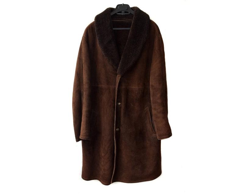 Vintage Shearling Coat Sheepskin Men Coat Men Long Coat Etsy