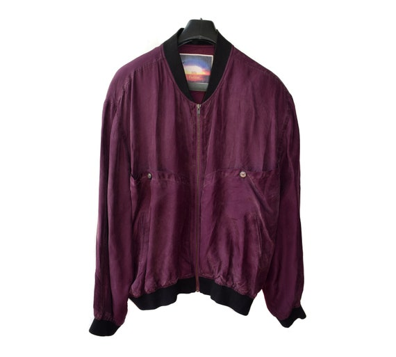 Vintage SILK FASHION Men Bomber Jacket Violet Purp