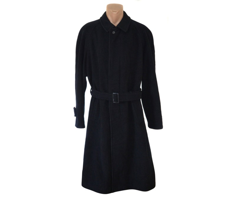 Lange Zwarte Winterjas Heren.Heren Overcoat Vintage Lange Jas Wol Kasjmier Winter Etsy