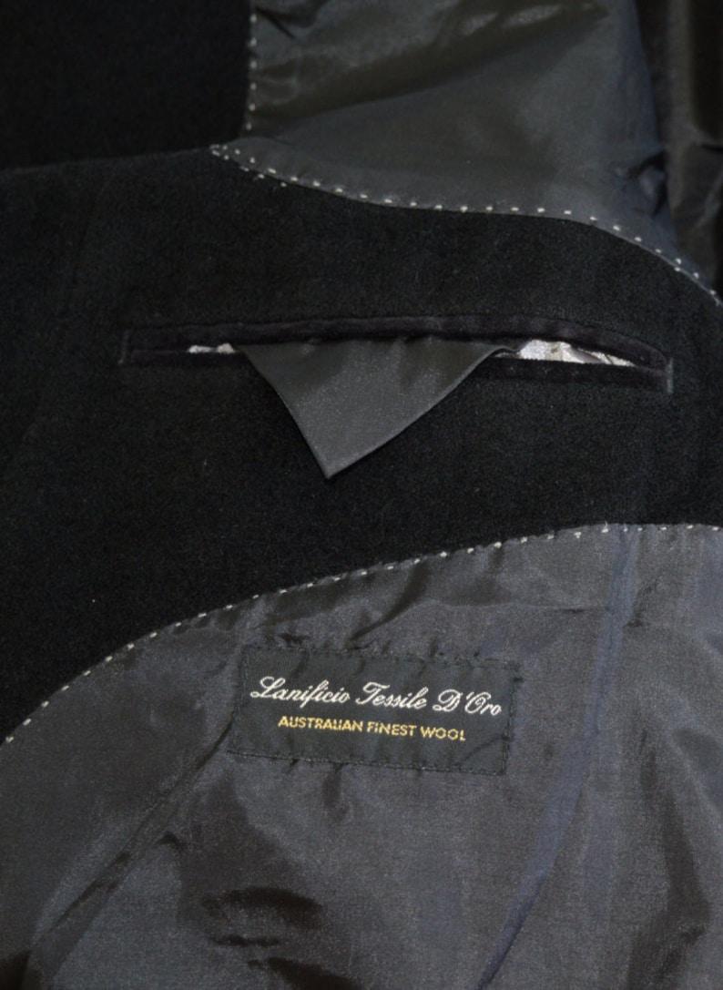 Mens Overcoat Vintage Men Black Long Coat New wool Australian Finest Wool