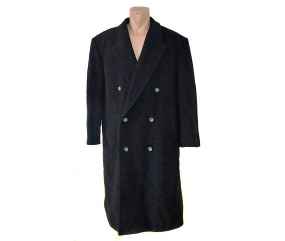 Mens YORN Long Coat Vintage Wool Cashmere Overcoat Men Gray Double Breasted Coat