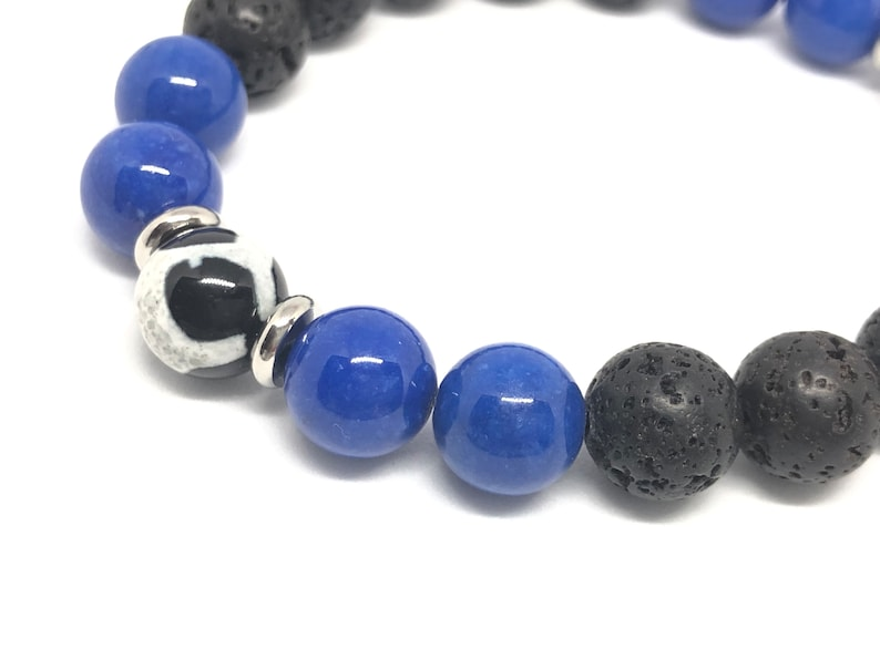 10mm Giraffe Agate Blue Riverstone Lava Beads with Stainless Steel