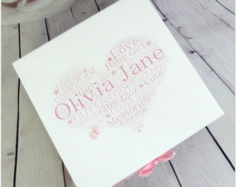 Unique Personalised Baby Girl Keepsake Gift Box With Clay Feet Etsy