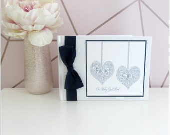 Luxury personalised hanging hearts wedding day guest book, wedding guest book, wedding day, wedding planning