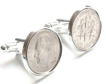 2008 Cufflinks, Tin Anniversary Gift, 10 year Anniversary Gift, Aluminum Anniversary Gift, Dime Coin Cufflinks, 10th Anniversary Gift
