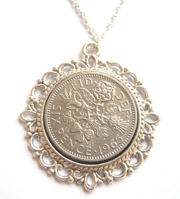 1960 Birthday Gift Lucky Sixpence Necklace 1960 Jewelry