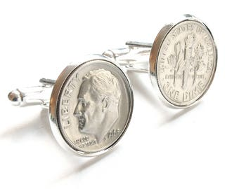 50th Birthday Gift for Men, 1968 Cufflinks, Dime Coin Cufflinks, 50th Gift for Brother, 50th Gift for Husband, 50th Birthday gift for him