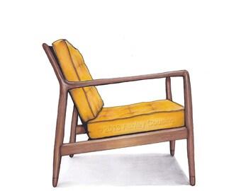 Mid Century Modern Danish Teak Chair Drawing, Mustard Yellow   8x10
