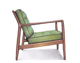 Bon Mid Century Modern Danish Teak Chair Drawing, Spring Green   8x10