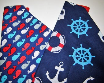 Choice Nautical Theme or  Smiling Whales Dog Scarf Over the Collar Dog Bandana