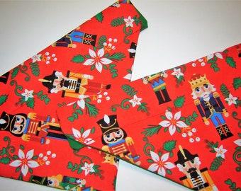 Christmas Nutcrackers on Red Dog Scarf Over the Collar Dog Bandana