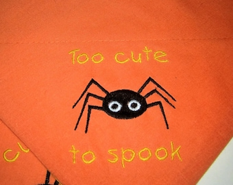 DISCONTINUED! Halloween Spooky Spider Embroidered Dog Scarf Over the Collar Dog Bandana
