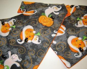 Halloween Ghosts and Pumpkins on Gray Dog Scarf Over the Collar Dog Bandana